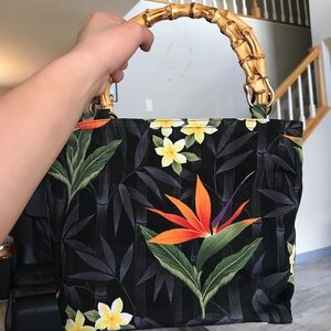 Handbags - HAWAIIAN PRINT BAG WITH BAMBOO STRAPS